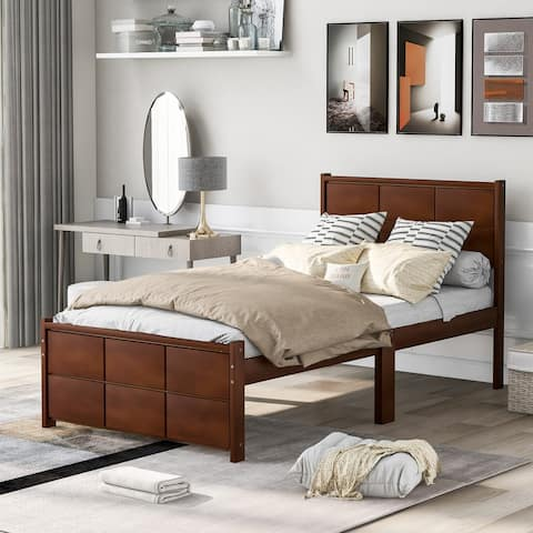 AOOLIVE Platform Bed Frame with Headboard and Footboard, Twin, Walnut