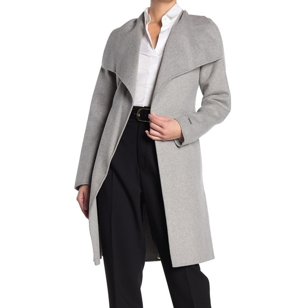 Tahari Womens Coat Heather Gray Size Small S Ellie Wrap Wing-Collar. Opens flyout.