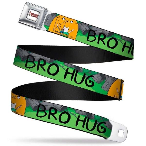 Adventure Time Logo White Full Color Finn & Jake Bro Hug In Woods Webbing Seatbelt Belt