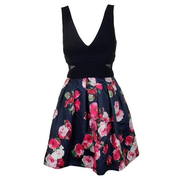 Shop Xscape Navy Pink Sleeveless Illusion Inset Floral