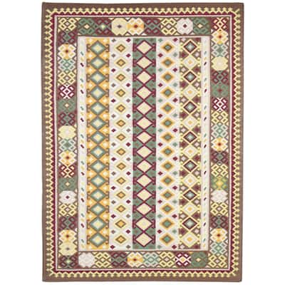 One of a Kind Flatweave Persian 5' x 8' Tribal Wool Red Rug - 5' x 7'