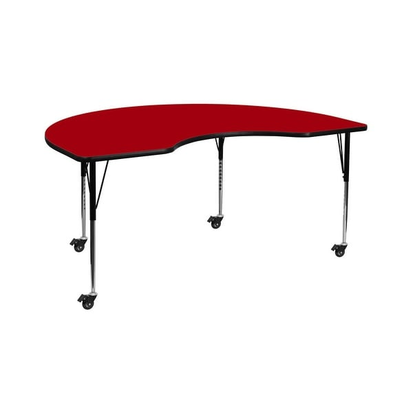 """Offex 48""""W x 72""""L Mobile Kidney Shaped Activity Table with Red Thermal Fused Laminate Top and Standard Height Adjustable Legs"""