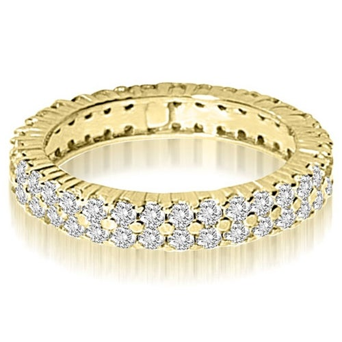 2.50 cttw. 14K Yellow Gold Round Two Row Prong Diamond Eternity Ring