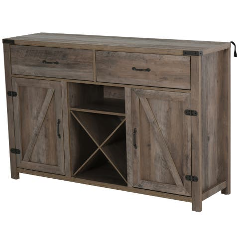 HomCom Wooden Retro Farmhouse Sideboard Storage Buffet Cabinet with 2 Large Drawers, X-Shaped Wine Rack, & Cabinets