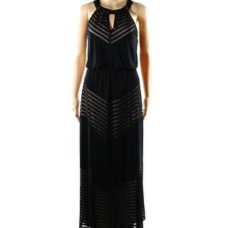 INC NEW Black Women's Size 8 Keyhole Halter Striped Blouson Dress