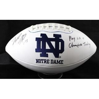 Will Fuller Autographed Notre Dame Fighting Irish Logo Football JSA