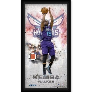 Kemba Walker Charlotte Hornets Player Profile Framed 10x20 Photo Collage w Game Used Basketball Pie