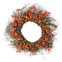 "24"" Autumn Harvest Artificial Berries, Twigs and Leaves Rustic Thanksgiving Wreath - Unlit - Red"