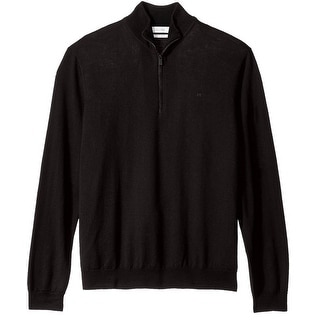 Calvin Klein NEW Black Mens Size 2XL Quarter Zip Wool Knit Sweater