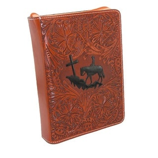 3 D Belt Company Tooled Leather Tan Book Cover or Bible Cover
