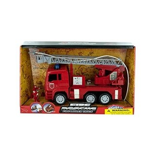Fire Rescue Truck with Water Hose - Black, Grey, Red,