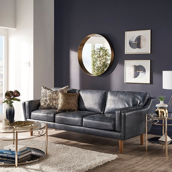 Strick & Bolton Beatnik Oxford Leather Blue Sofa