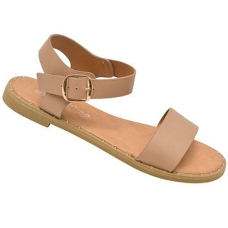 Weeboo Adult Taupe Adjustable Buckled Ankle Strap Open Toe Sandals