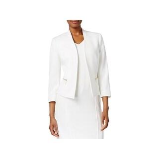 Kasper Womens Open-Front Blazer Textured Zip Pockets