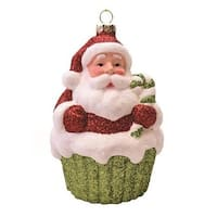 "4"" Merry & Bright Red  White and Green Glitter Shatterproof Santa Claus Cupcake Christmas Ornament"