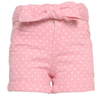 Little Girls Pink White Polka Dotted Pattern Tie Bow Waist Shorts 4