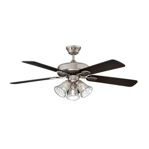 Concord Fans Richmond Fan, Three Light Kit with Stainless Steel Finish - Stainless Steel