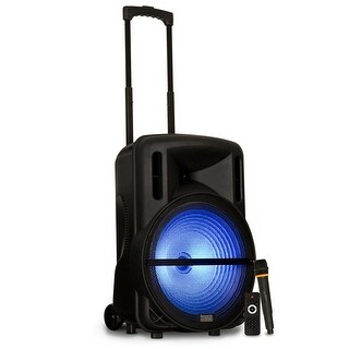 """Acoustic Audio PRTY152 Battery Powered 15"""" Bluetooth LED Speaker & Wireless Mic"""
