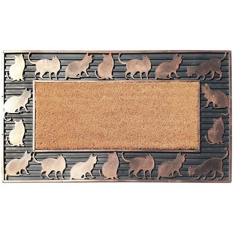 "A1HC Rubber and Coir New Cat Design Copper Hand Finished Decorative Doormat 18""X30"""