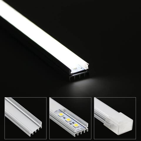 1M/3.3ft Shallow Flush Mount U-Shape Aluminum Channel - LED Aluminum Extrusion for Flex/Hard LED Strip Light