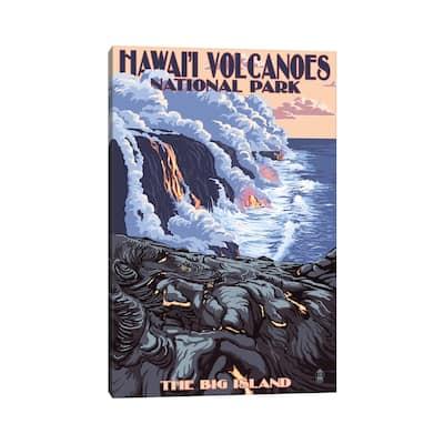 "iCanvas ""Hawai'i Volcanoes National Park (Flowing Lava)"" by Lantern Press Canvas Print"