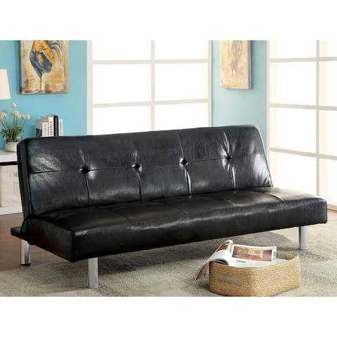 Furniture of America Kili Transitional Black Faux Leather Padded Futon Sofa
