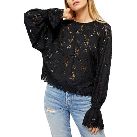 Free People Womens Top Jet Black Size XS Lace-Illusion Smocked Blouse