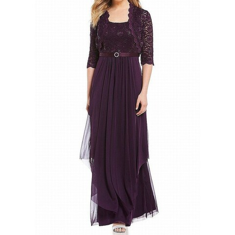 R&M Richards Womens 2pc Lace Sequined Gown Dress