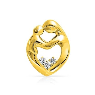 Bling Jewelry Gold Plated .925 Silver CZ Mother Child Family Heart Pendant