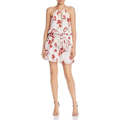 Parker Womens Larissa Halter Dress Floral Daytime - White Maiden Lane