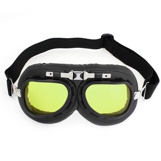 Cycle Racing Camping Anti-Fog Black Frame Rectangle Yellow Lens Goggles