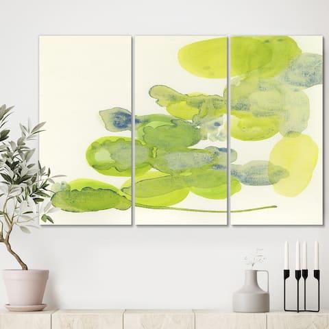 Designart 'Green Leaves Impression' Mid Century Modern Canvas Wall Art - 36x28 - 3 Panels