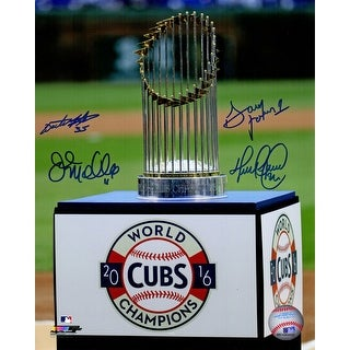 2016 Chicago Cubs Coaching Staff Chicago Cubs 2016 World Series Trophy On Wrigley Field 8x10 Photo