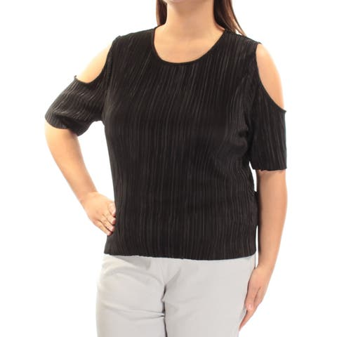 BAR III Womens Black Cut Out Accordion Pleat Short Sleeve Jewel Neck Top Size: XL
