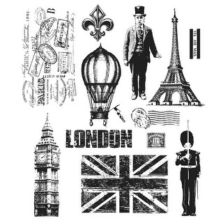 "Tim Holtz Cling Stamps 7""X8.5""-Paris To London"