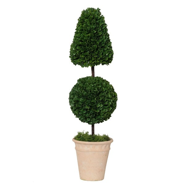"""24"""" Green and White Small Size Potted Cone and Ball Faux Boxwood Topiary - N/A"""
