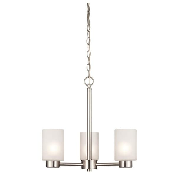 Westinghouse 6227500 Sylvestre 3 Light Single Tier Up Lighting Chandelier with Frosted Seeded Glass Shades - brush nickel