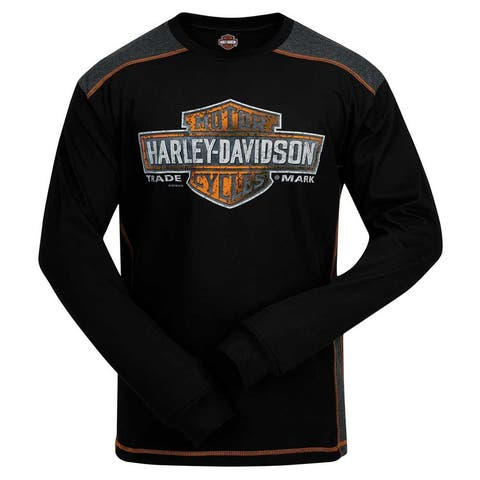 Harley-Davidson Men's Splatter Bar & Shield Colorblocked Panel Long Sleeve Shirt