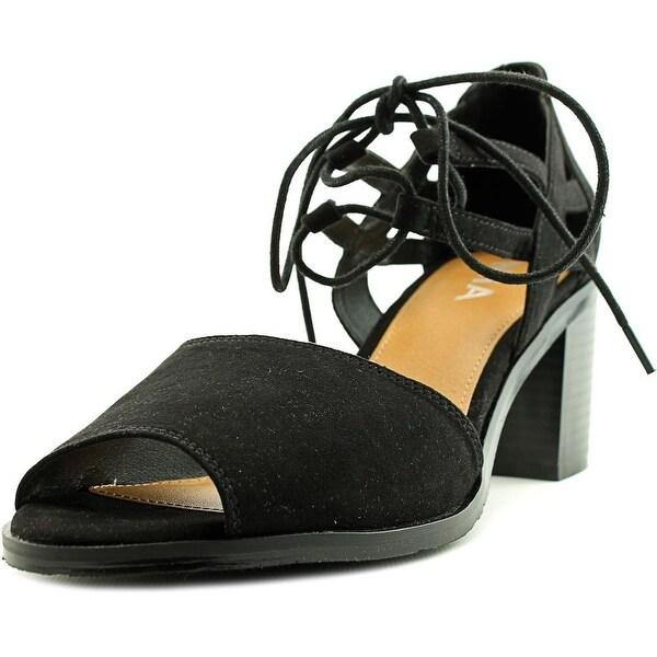 Mia Luella Women Open Toe Canvas Black Sandals