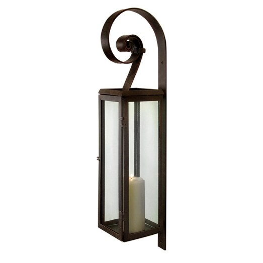 "28"" Rustic Scroll Rectangular Pillar Candle Lantern Wall Sconce - N/A"