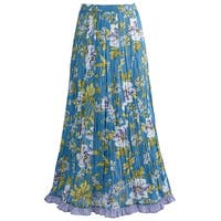 Catalog Classics Long Peasant Skirt - Waterlily Crinkle Print with Elastic Waist
