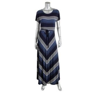 Tommy Hilfiger Womens Petites Striped Short Sleeves Maxi Dress