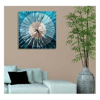 "Statements2000 Metal Wall Clock Art Abstract Aqua Silver Painting Decor by Jon Allen - Aquatica Clock - 24"" x 24"""