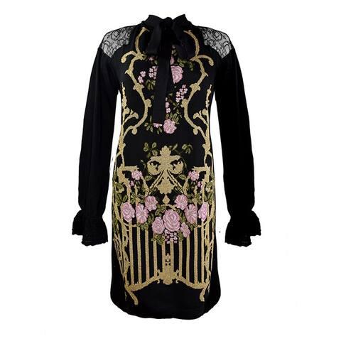 Alberta Feretti Black Knit Sweater Dress Floral Design