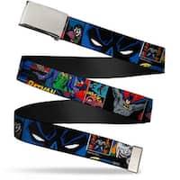 """Blank Chrome 1.0"""" Buckle Batman & Joker Comic Strip Webbing Web Belt 1.0"""" Wide - S"""