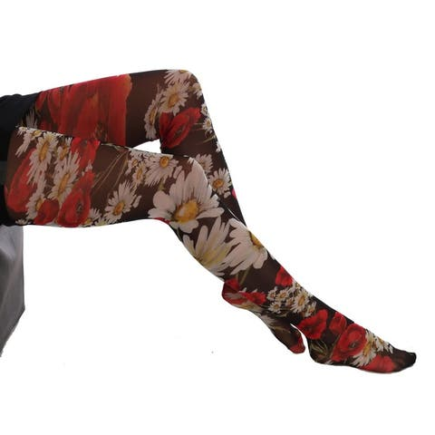 Dolce & Gabbana Multicolor Daisy Floral Print Stockings Tights