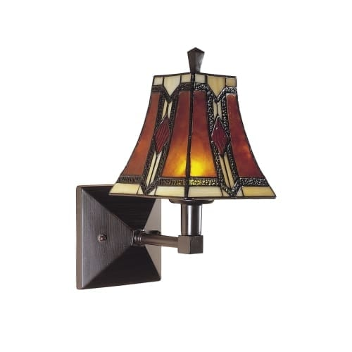 "Dale Tiffany TW100852 9"" Stained Glass / Tiffany One Light Wall Sconce from the Kenelm Collection"