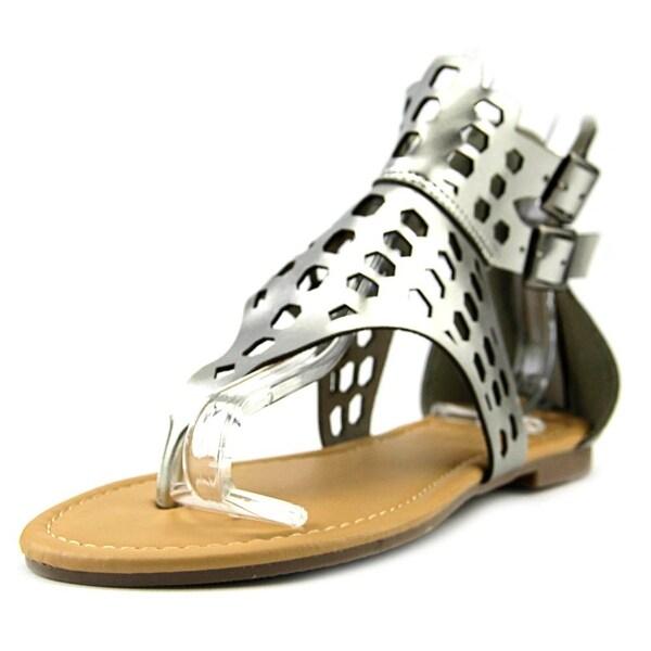 Adriana New York Acacia-17 Women Open Toe Synthetic Silver Gladiator Sandal