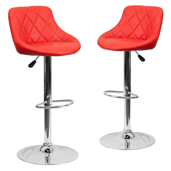 Belleze Set Of 2 Faux Leather Adjule Bar Stools Back Counter Height Swivel Stool Red