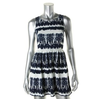 Aqua Womens Juniors Casual Dress Printed Sleeveless